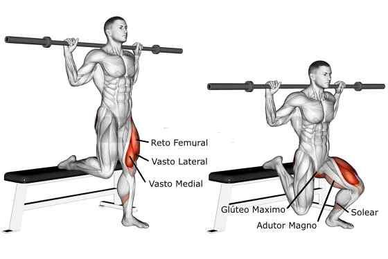 Afundo Búlgaro com barra músculos trabalhados