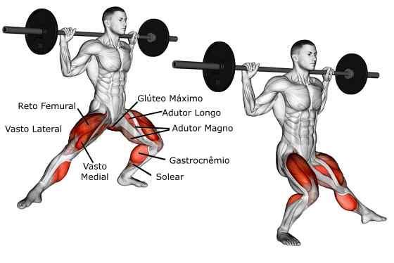 Afundo lateral com barra Músculos Trabalhados